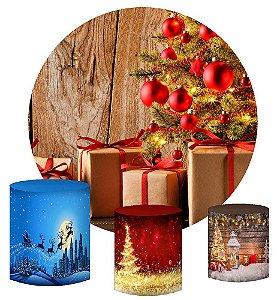 Kit Painel Redondo De Festa e Capas de Cilindro em tecido sublimado Natal