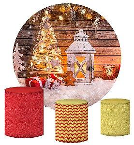 Kit Painel Redondo De Festa e Capas de Cilindro em tecido sublimado Natal Encantado Modelo 2