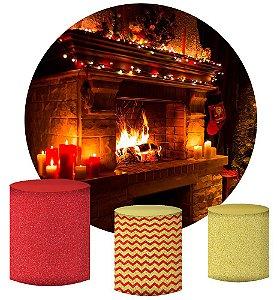 Kit Painel Redondo De Festa e Capas de Cilindro em tecido sublimado Lareira de Natal
