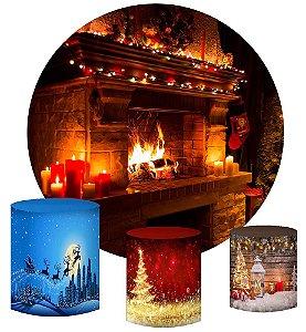 Kit Painel Redondo De Festa e Capas de Cilindro em tecido sublimado Lareira de Natal Mod2