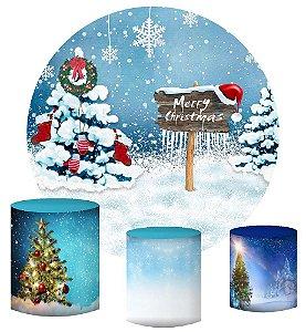 Kit Painel Redondo De Festa e Capas de Cilindro em tecido sublimado Neve no Natal