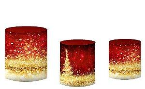 Kit Capas de Cilindro de festa em tecido sublimado Natal Mod4
