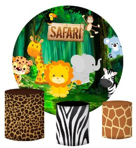 Kit Painel Redondo De Festa e Capas de Cilindro em tecido sublimado Safari Cute