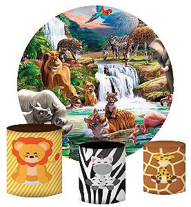 Kit Painel Redondo De Festa e Capas de Cilindro em tecido sublimado Safari na Savana
