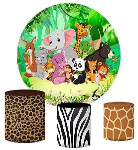 Kit Painel Redondo De Festa e Capas de Cilindro em tecido sublimado Selva Safari