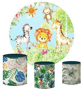 Kit Painel Redondo De Festa e Capas de Cilindro em tecido sublimado Safari Aquarela