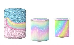 Kit Capas de Cilindro de festa em tecido sublimado Unicórnio candy colors
