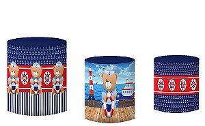 Kit Capas de Cilindro de festa em tecido sublimado Ursinho Marinheiro