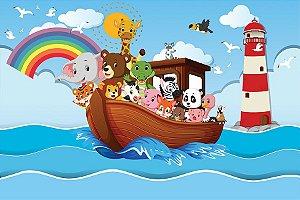 Painel de Festa em Tecido Sublimado 3d Farol Arca de Noé