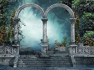 Painel de Festa em Tecido Sublimado 3d Arcos da Floresta