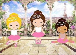 Painel de Festa em Tecido Sublimado 3d Bailarinas Paris