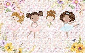 Painel de Festa em Tecido Sublimado 3d Bailarinas Flores