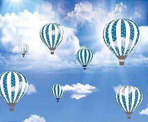 Painel de Festa em Tecido Sublimado 3d Balões nas Nuvens