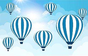 Painel de Festa em Tecido Sublimado 3d Balões Azuis