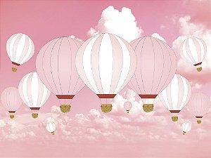 Painel de Festa em Tecido Sublimado 3d Balões Rosas
