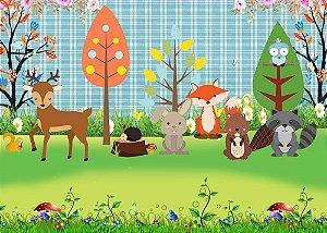 Painel de Festa em Tecido Sublimado 3d Animais no Bosque