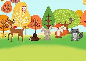 Painel de Festa em Tecido Sublimado 3d Animais no Bosque Mod2