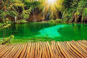 Painel de Festa em Tecido Sublimado 3d Sol na Cachoeira