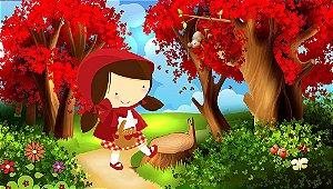 Painel de Festa em Tecido Sublimado 3d Chapeuzinho Vermelho