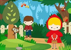 Painel de Festa em Tecido Sublimado 3d Chapeuzinho Vermelho e Caçador