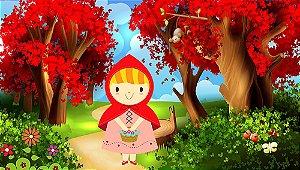 Painel de Festa em Tecido Sublimado 3d Linda Chapeuzinho Vermelho