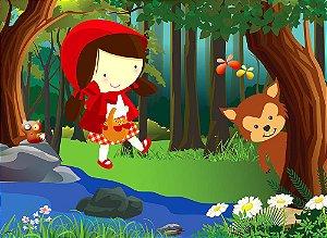 Painel de Festa em Tecido Sublimado 3d Lobo e Chapeuzinho Vermelho