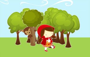 Painel de Festa em Tecido Sublimado 3d Chapeuzinho Vermelho Mod2