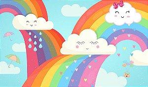 Painel de Festa em Tecido Sublimado 3d Chuva de Amor Multi Arco-íris