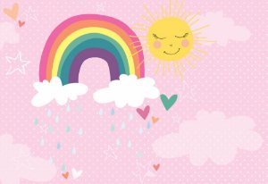 Painel de Festa em Tecido Sublimado 3d Chuva de Amor Rosa