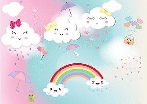 Painel de Festa em Tecido Sublimado 3d Chuva de Amor Candy Color