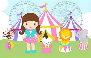 Painel de Festa em Tecido Sublimado 3d Circo Cute Menina