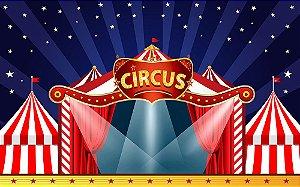 Painel de Festa em Tecido Sublimado 3d Circo Mágico