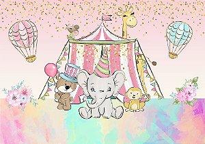 Painel de Festa em Tecido Sublimado 3d Circo Aquarela Animais