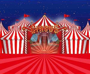 Painel de Festa em Tecido Sublimado 3d Lindíssimo Circo