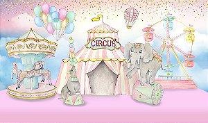 Painel de Festa em Tecido Sublimado 3d Circo Aquarelado Rosa