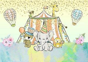 Painel de Festa em Tecido Sublimado 3d Circo Aquarelado Mod2