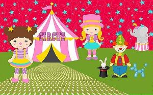 Painel de Festa em Tecido Sublimado 3d Circo das Meninas
