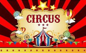 Painel de Festa em Tecido Sublimado 3d Circo Estrelas
