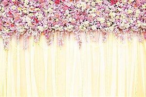 Painel de Festa em Tecido Sublimado 3d Cortina de Flores Champagne