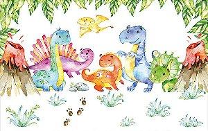 Painel de Festa em Tecido Sublimado 3d Dinossauros Baby