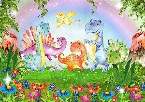 Painel de Festa em Tecido Sublimado 3d Dinossauros Baby Floresta
