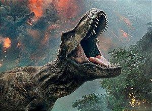 Painel de Festa em Tecido Sublimado 3d Tiranossauro Rex