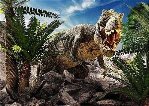 Painel de Festa em Tecido Sublimado 3d Tiranossauro Rex Mod2