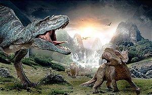 Painel de Festa em Tecido Sublimado 3d Dinossauros Mod2