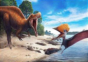 Painel de Festa em Tecido Sublimado 3d Dinossauros Rio