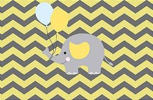 Painel de Festa em Tecido Sublimado 3d Elefantinho Quadriculado