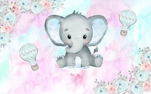 Painel de Festa em Tecido Sublimado 3d Elefantinho Aquarela