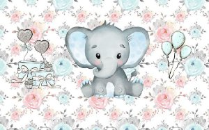 Painel de Festa em Tecido Sublimado 3d Elefantinho e Balões Aquarela