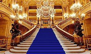 Painel de Festa em Tecido Sublimado 3d Escadaria Realeza Azul Royal