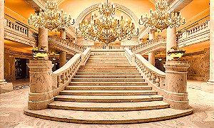 Painel de Festa em Tecido Sublimado 3d Escadaria Dourada